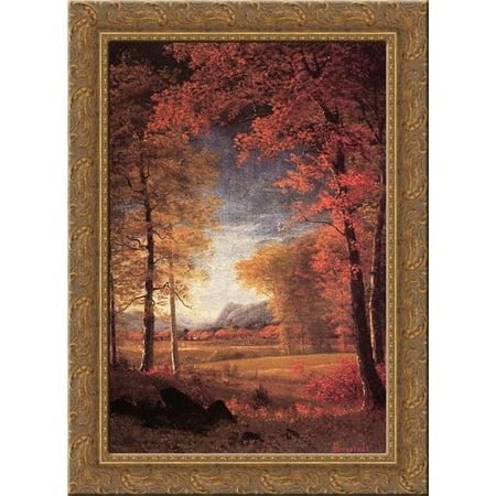 Autumn in America, Oneida County, New York 20x24 Gold Ornate Wood Framed Canvas Art by Bierstadt, Albert