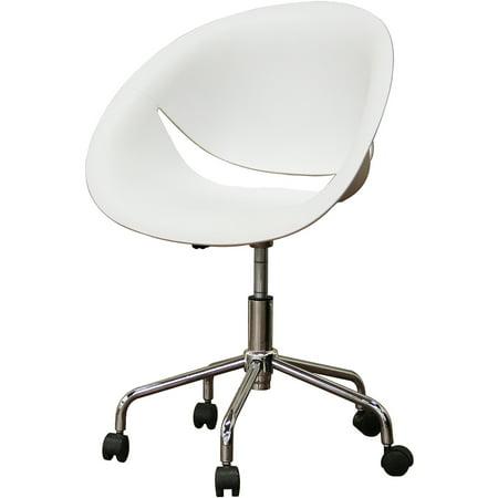 Justina White Molded Plastic Modern Swivel Office Chair  Set Of 2