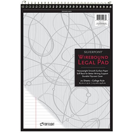 Silverpoint Top Wire Legal Pad, College Rule, Heavy Back, 8.5 x 11.75 Inches, 70 Sheets, Protective Cover, Gray/Black (5