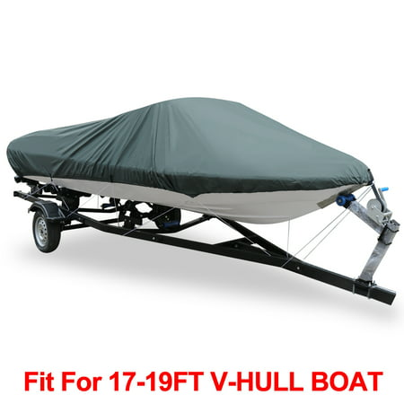 Wooden Runabout Boats (V-Hull 210-Denier Waterproof Boat Cover for 17'-19' Trailerable Fishing Ski Boats Runabout Covers Gray )
