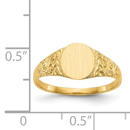 14k Yellow Gold 8.0x7.0mm Closed Back Signet Band Ring Size 6.00 Fine Jewelry For Women Gifts For Her - image 8 of 9