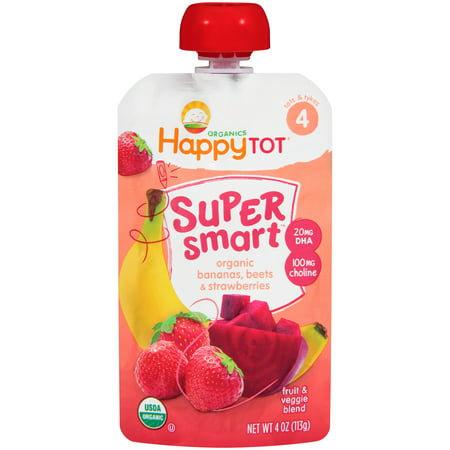 (4 Pack) Happy Totî Organics Super Smart⢠Organic Bananas, Beets & Strawberries Fruit & Veggie Blend 4 oz. Pouch
