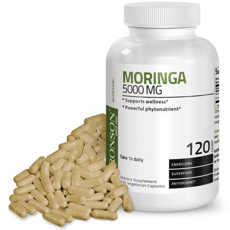 Moringa Oleifera 5000 mg Powder Capsules Extra High Potency Energizing Superfood Antioxidant, 120 Vegetarian (Energizing Antioxidant)