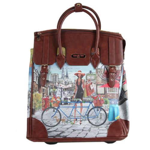 Nicole Lee Rolling Business Tote Special Bicylce Print Edition city drive