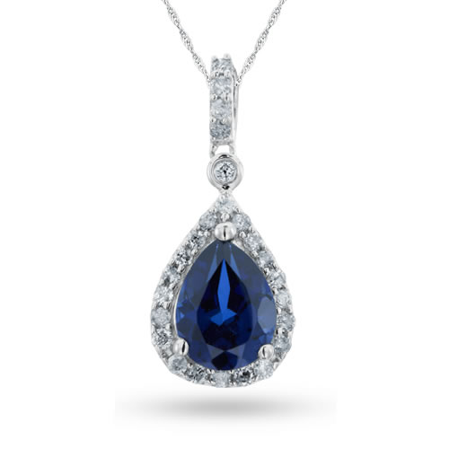 Sterling Silver, Lab-Created Blue Sapphire and Diamond Pendant