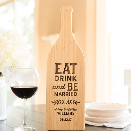 Personalized Wine Bottle Shaped Cutting Boards - Cheap Wedding Gifts