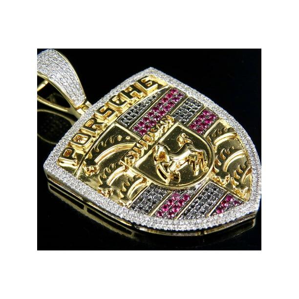 Jewelry Unlimited Mens 10k Yellow Gold Treated Ruby Black Diamond Porsche Logo Pendant 1 85ct 2 2 Walmart Com Walmart Com