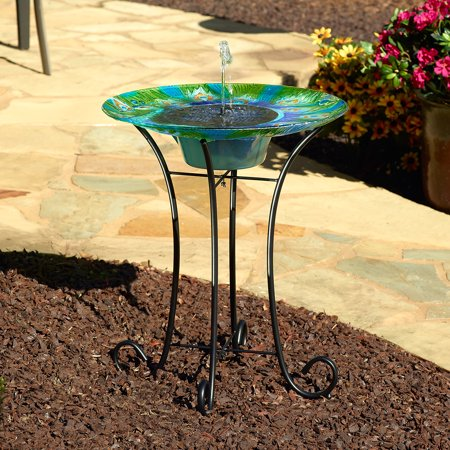 Argus Peacock Glass Solar Bird Bath Fountain