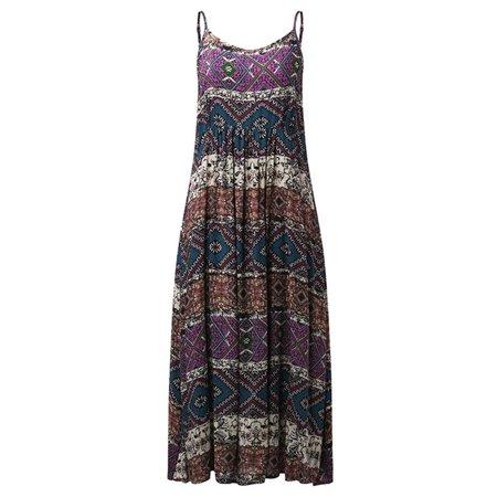 Women Bohemia Beach Print Sleeveless Casual Loose Long Maxi Dress - Prince Dress