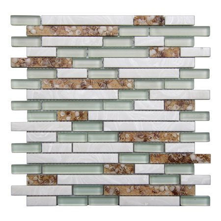 Decorative Glass Tile Geniune Shell and Conch Mosaic Tile for Kitchen Backsplashes (5 Pack)