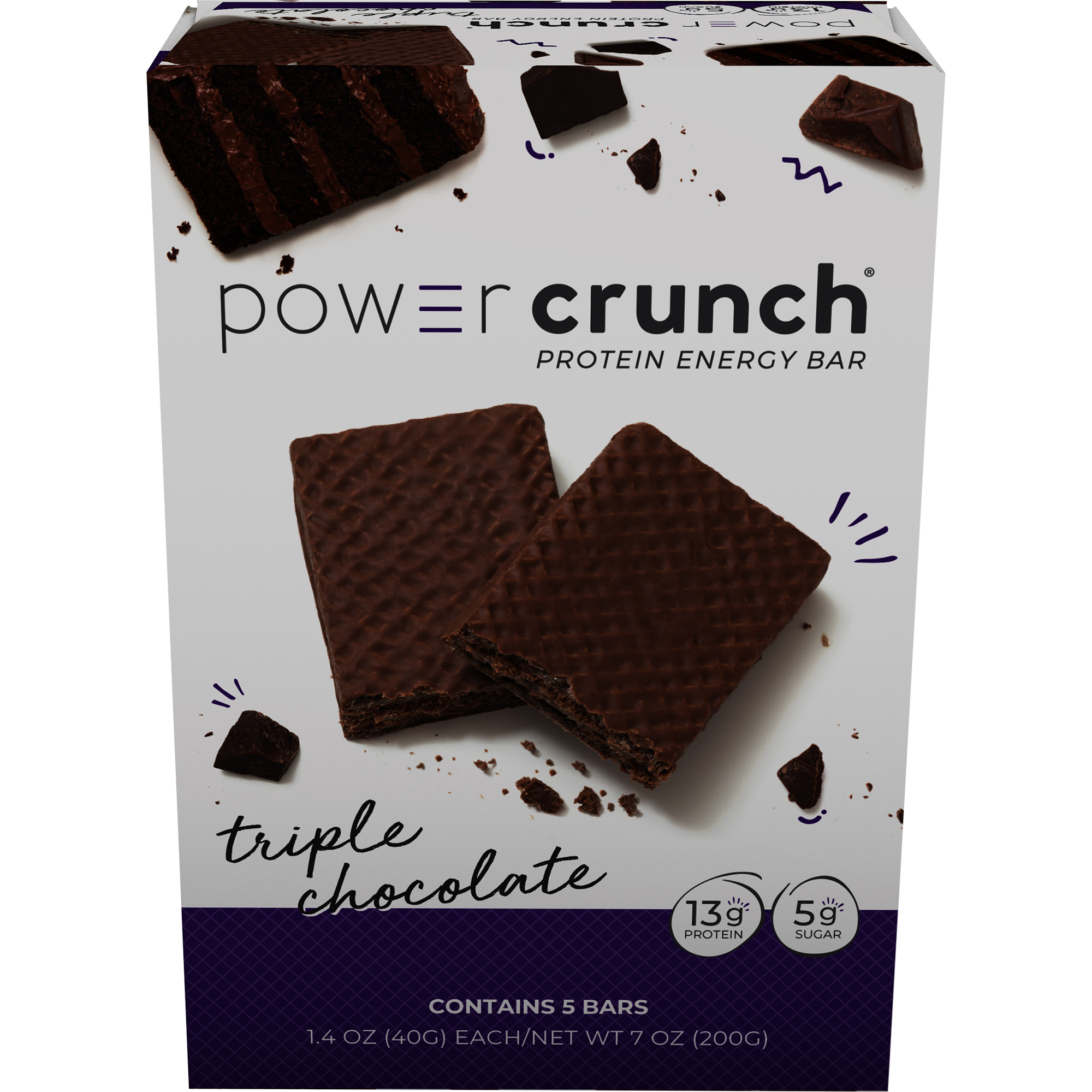 Power Crunch Protein Energy Bar, Triple Chocolate, 13g Protein, 5 Ct