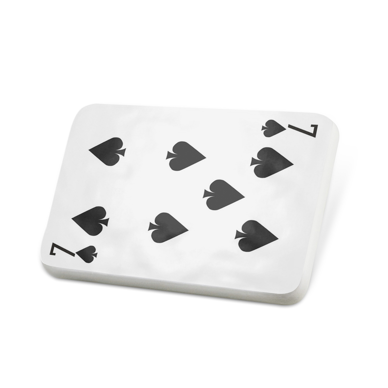 Porcelein Pin Seven of Spades - Seven / card game Lapel Badge – NEONBLOND