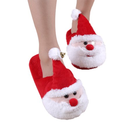 House Slippers, Coxeer Christmas Slippers Anti-skid 3D Santa Warm ...