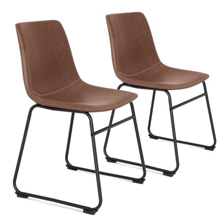 Best Choice Products Distressed Faux Leather Upholstered Vintage Dining Chairs, Home Furniture for Kitchen, Office with Metal Frame, Foot Pads, Decorative Stitching, Set of 2,