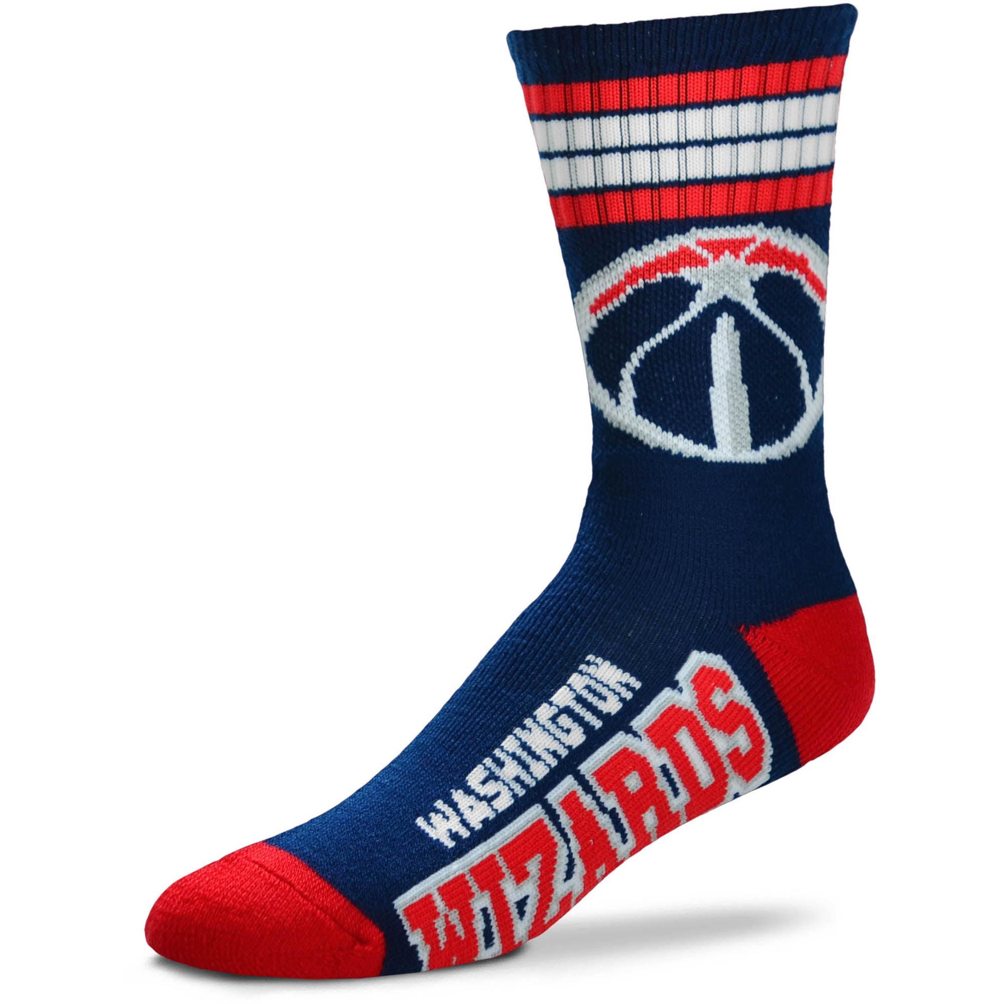 Washington Wizards For Bare Feet Team 4-Stripe Deuce Crew Socks - Men 10-13