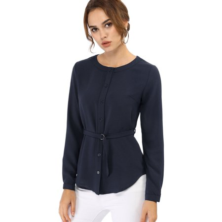 Belted Button (Unique Bargains Women's Blouses Crew Neck Long Sleeve Belted Button Down Casual Shirt (Size L / 14) Dark)