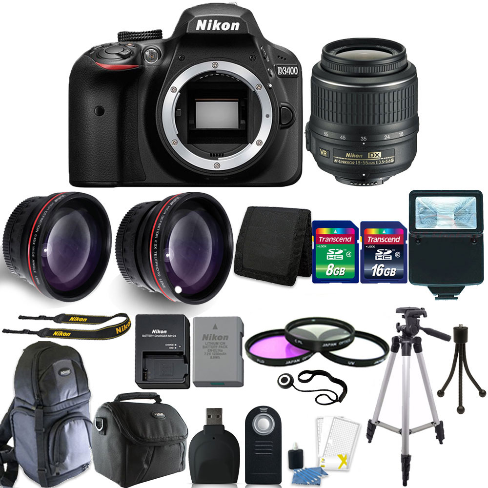 Nikon D3400 24MP Digital SLR Camera 18-55mm Lens + Great Value Bundle
