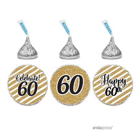 Milestone Chocolate Drop Labels Trio, Fits Hershey's Kisses Party Favors, 60th Birthday, 216-Pack, Not Real Glitter - Black And Gold 60th Birthday Decorations