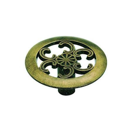 1.5 in. dia. Allison Round Furniture Knob - Antique Brass  0.75 in. Projection ()
