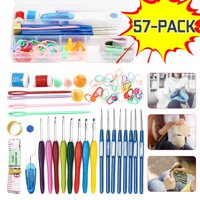 57 Pcs Crochet Hooks Tools Knitting Needles Stitches Knit Weave Craft Yarn Set Sewing Accessories Portable 16 Sizes