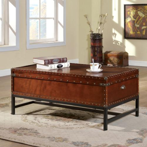 Furniture Of America Dravens Industrial Trunk Style Coffee ...