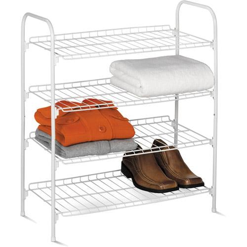 Honey Can Do 4-Tier Wire Shoe and Accessory Shelf/Closet Shelves, White