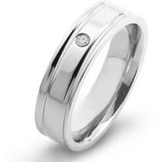 Titanium and 0.03 Carat T.W. Diamond Comfort Fit Band (H-I, SI2)