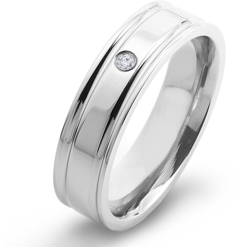 Crucible Titanium and 0.03 Carat T.W. Diamond Comfort Fit Band (H-I, SI2)
