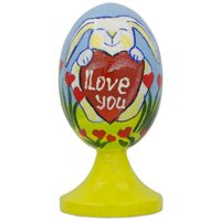 "BestPysanky Bunny with ""I Love You"" Valentine Heart Wooden Figurine"