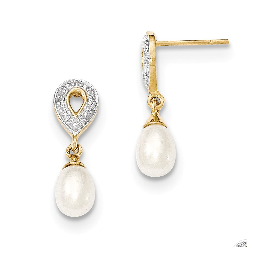 14k Yellow Gold 0.7IN Long Diamond and Freshwater Cultured Pearl Post Dangle Earrings