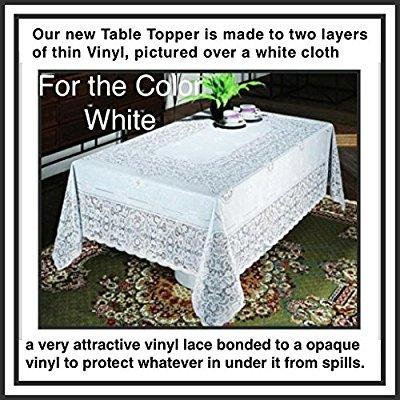 table topper by the next generation of vinyl lace 60 x 120 completely protects table from spills. elegant, easy-to-care for, light gauge vinyl. best to clean by hand . dryer safe to removes most wri