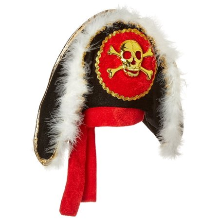 Pirate Hat with Gold Skull & Crossbones (Pirate Hat Skull Crossbones)