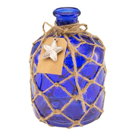 Art Deco Bottle - Cobalt Blue Round Glass Bottle with Jute Rope Netting and Starfish Accent