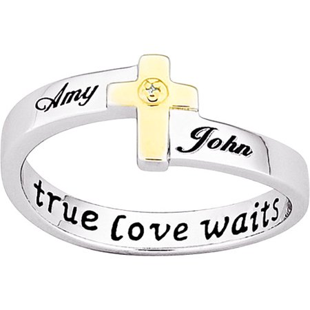 Personalized Sterling Silver True Love Waits Cross With Diamond Accent Purity Ring