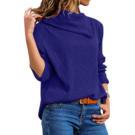 - DBoard Women Ribbed Knit Sweater Lapel Neck Long Sleeve Solid Color Pullover Tops