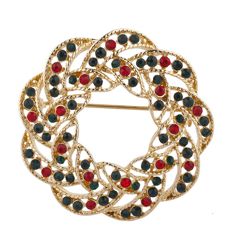 Lux Accessories Gold Tone Green Red Rhinestones Wreath Christmas Xmas Brooch - Red Gold Rhinestone Brooch