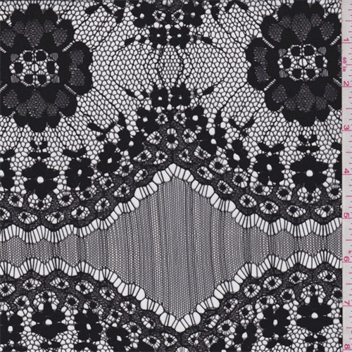 Black Floral Scallop Medallion Lace, Fabric By the Yard