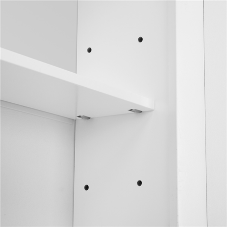 Topeakmart Wooden Wall Mount Bathroom Wall Cabinet with Double Mirror Doors & Adjustable Shelf White