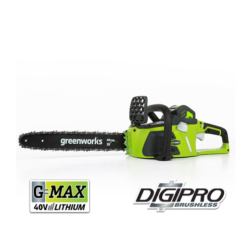 Greenworks 40V 16-Inch Cordless Lithium-Ion Brushless Chainsaw, 4.0 AH Battery Included 20312