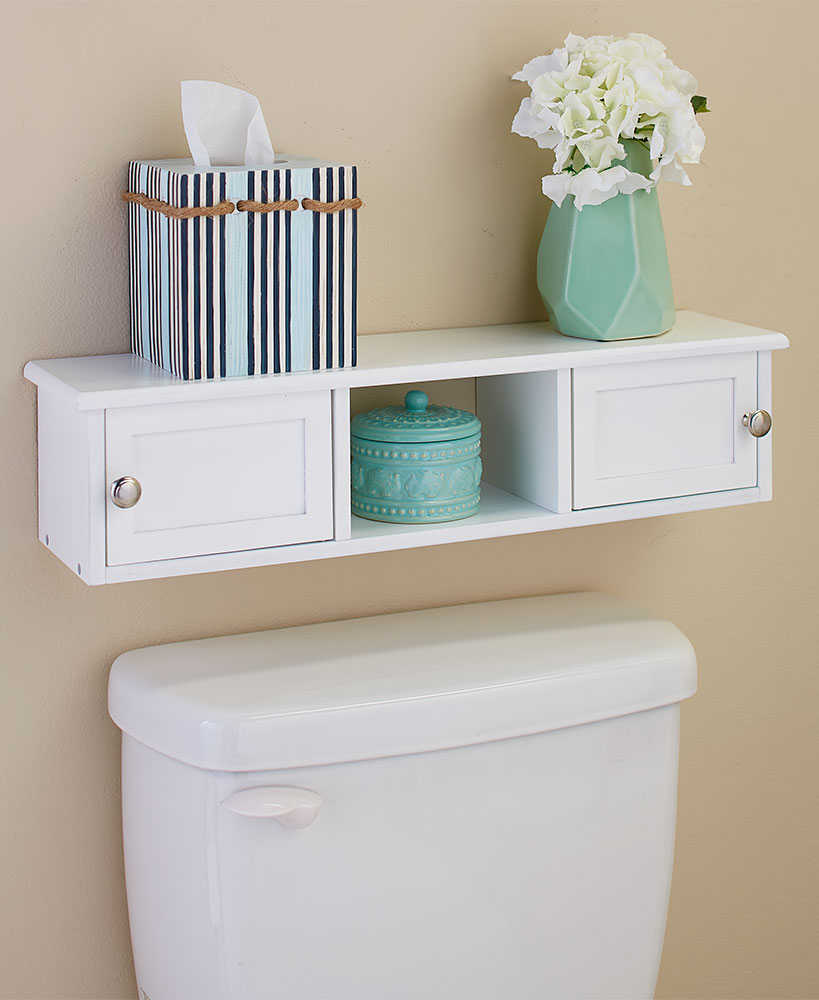 Wall-Mounted Over-the-Toilet Spacesaver Shelf - White ...