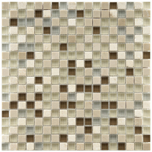 EliteTile Sierra 11-3/4'' x 11-3/4'' Polished Glass and Stone Mini Mosaic in York