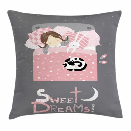 Sweet Dreams Throw Pillow Cushion Cover, Girl Sleeping with a Bunny and a Cat Cartoon Style Night Time Themed Image, Decorative Square Accent Pillow Case, 16 X 16 Inches, Multicolor, by Ambesonne - Sweet 16 Theme Ideas List