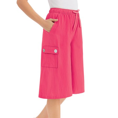 Women's Crinkle Cotton Gauze Clothing Cargo Pocket Elastic Waist Split Skirt, Medium,