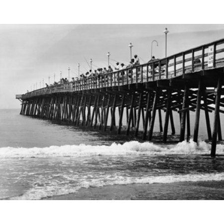 Group Of People Fishing On A Pier Salter Path Outer Banks North Carolina Usa Canvas Art     24 X 36