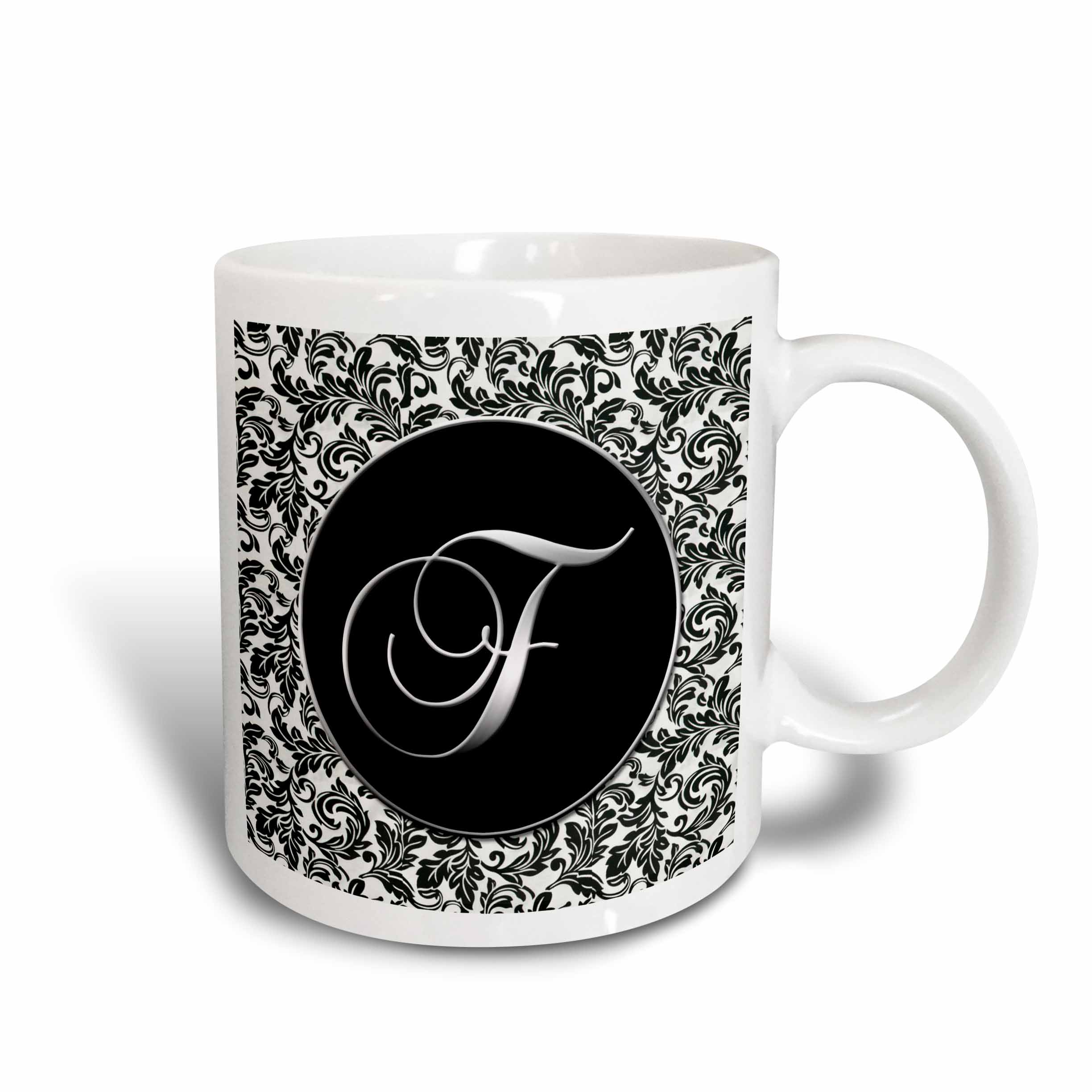 3dRose Letter F - Black and White Damask, Ceramic Mug, 15-ounce