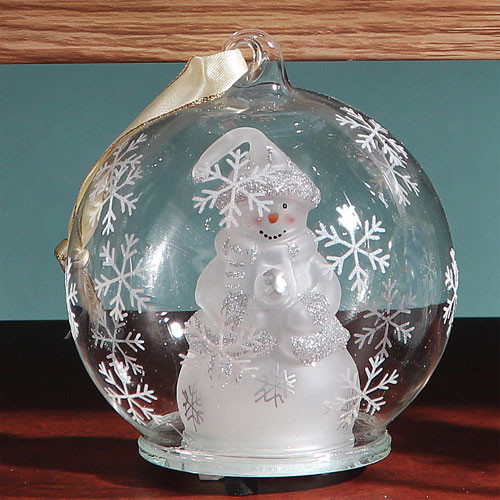 Steal Street HD-0372 4 in. dia. Light Up Glass Ornament - White Snowman