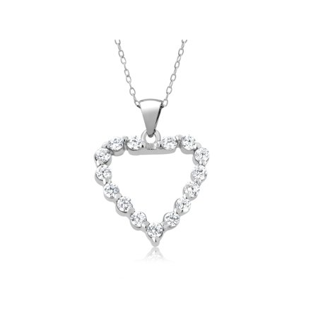Engagement White Necklace - 1.00 Ct Round Cubic Zirconia CZ Sterling Silver Heart Pendant with 18