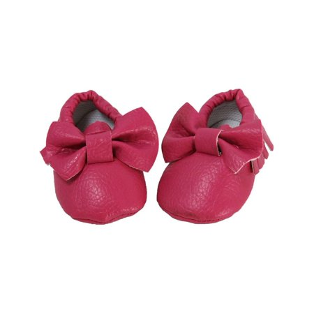 ebd23d8b31936 Dress Up Dreams Boutique - Baby Girls Dark Pink Fringe Bow Soft Sole  Moccasin Crib Shoe 0-12M - Walmart.com