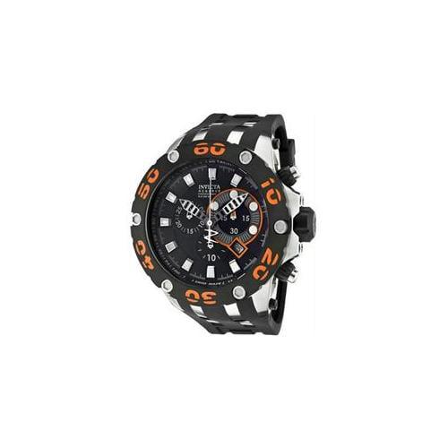 Invicta Men's Reserve Chronograph Black Dial Black Polyurethane, Size: 52mm