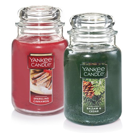 Yankee Candle Large Jar, 2pk, Sparkling Cinnamon and Balsam & Cedar ()